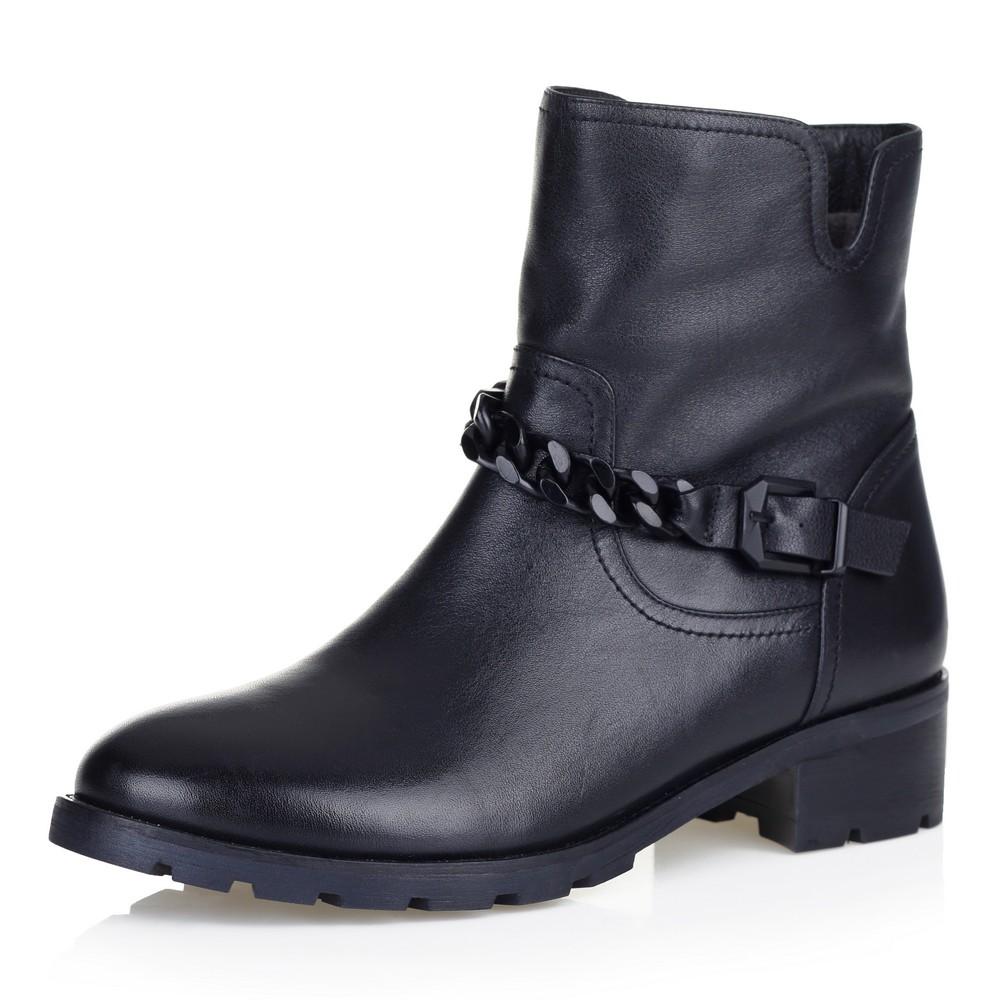 Черные ботинки с декоративной цепочкой