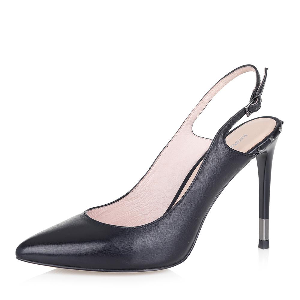 Черные открытые туфли на высокой шпильке фото