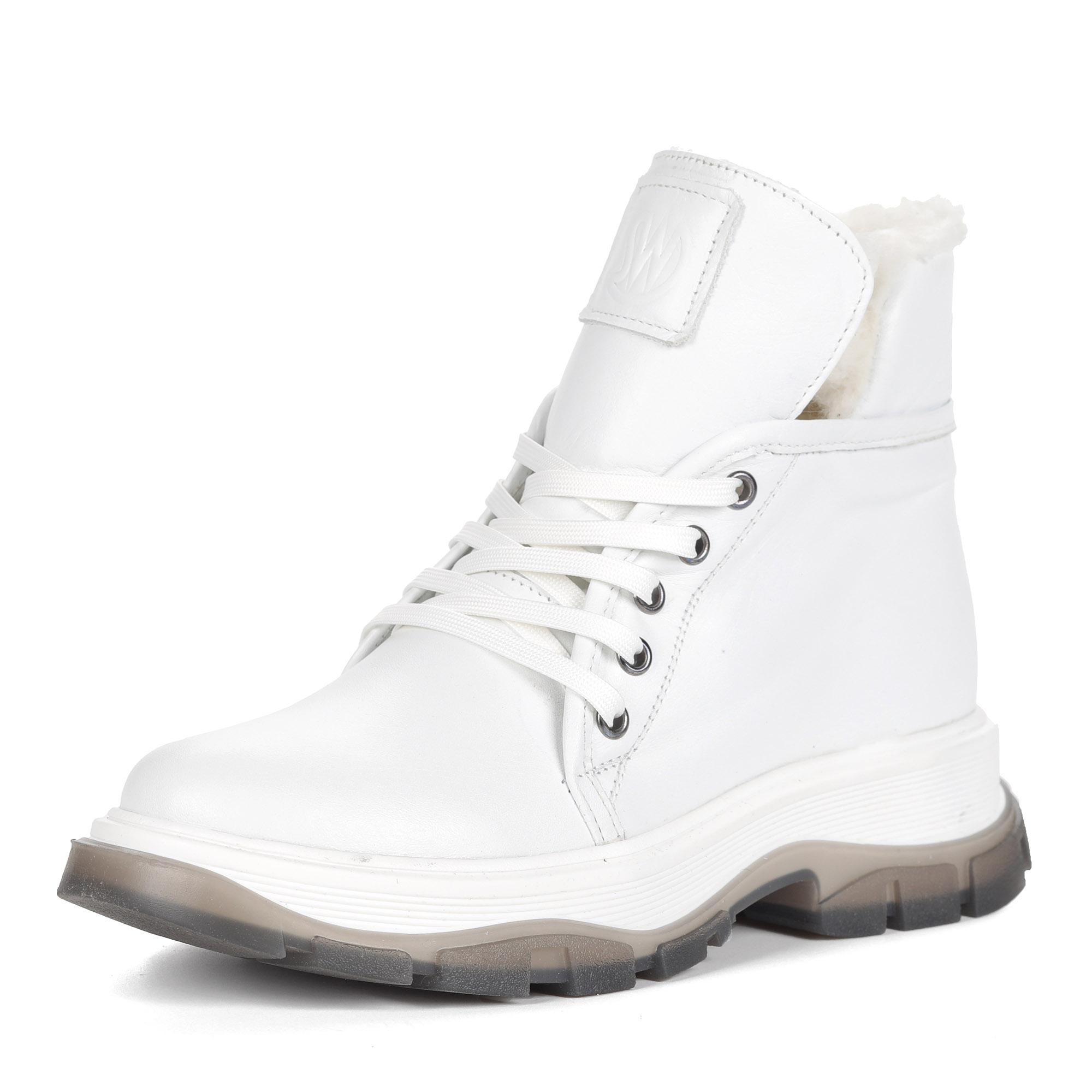 Белые ботинки из кожи на шнуровке