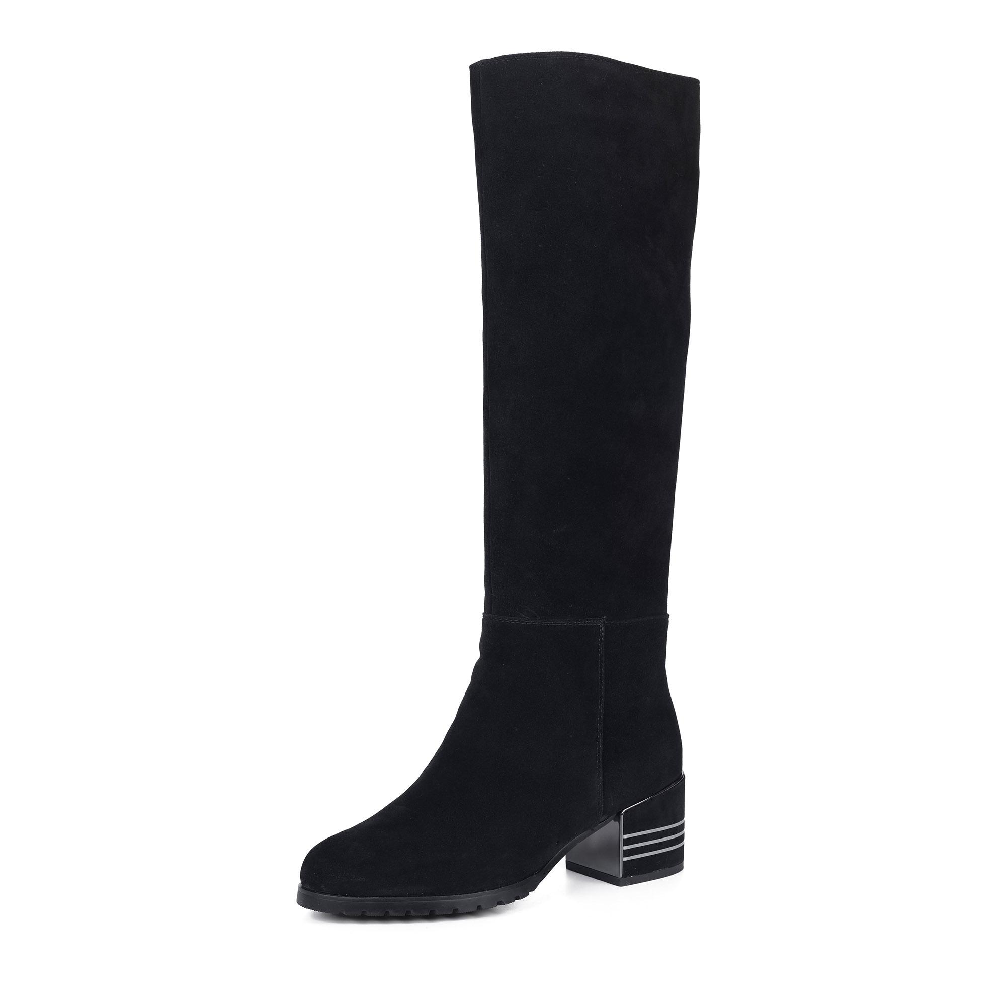 Черные сапоги на среднем декорированном каблуке