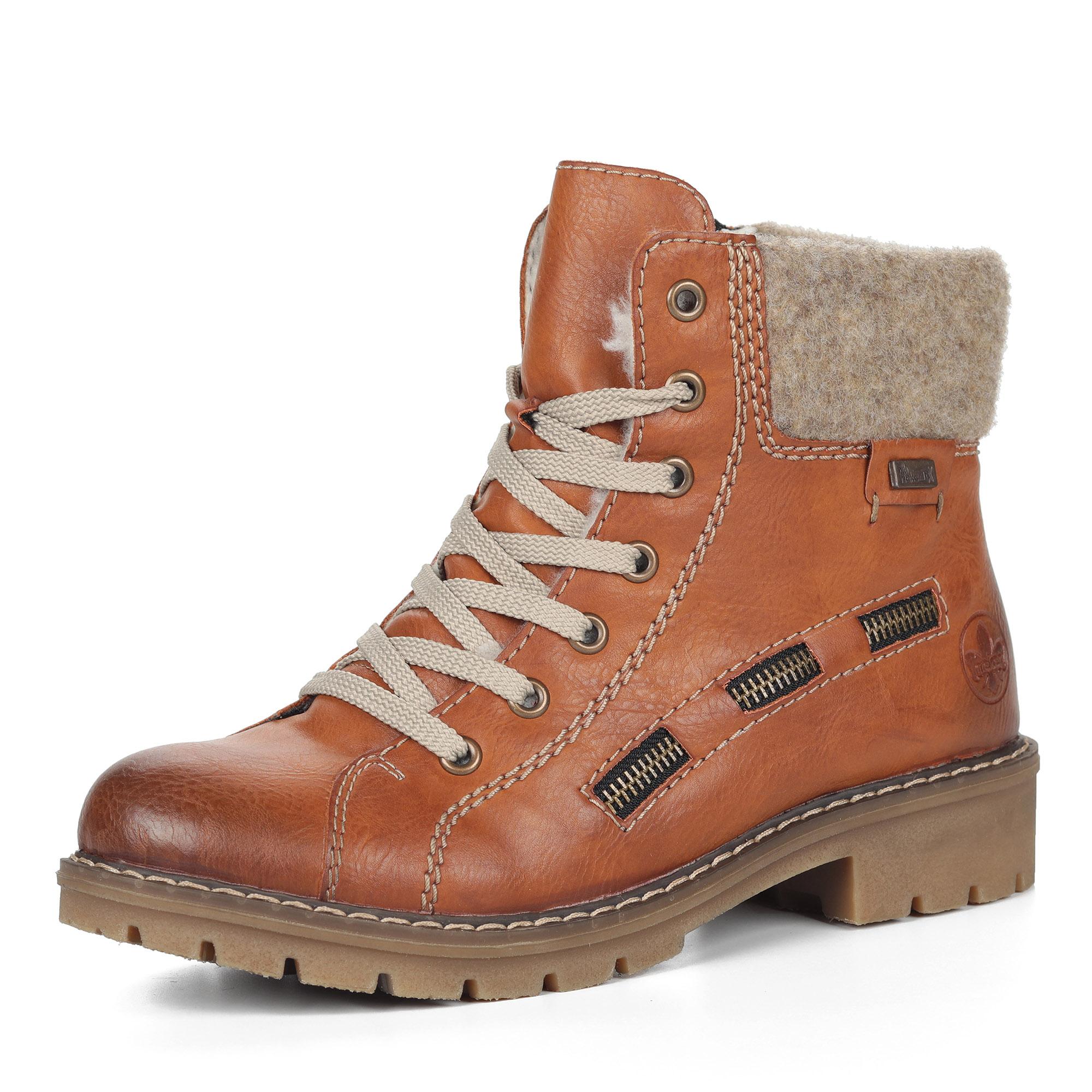 Коричневые ботинки на шнуровке из экокожи