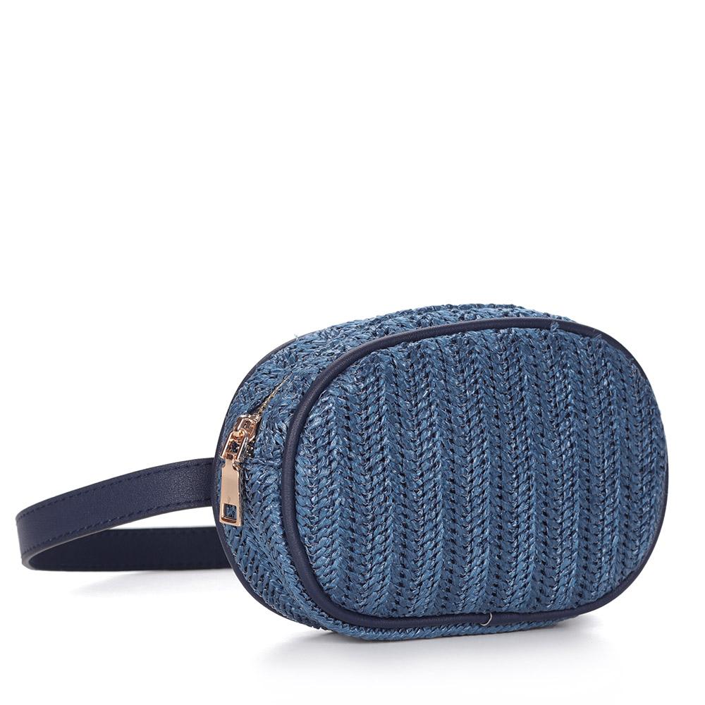 Синяя поясная сумка из текстиля фото