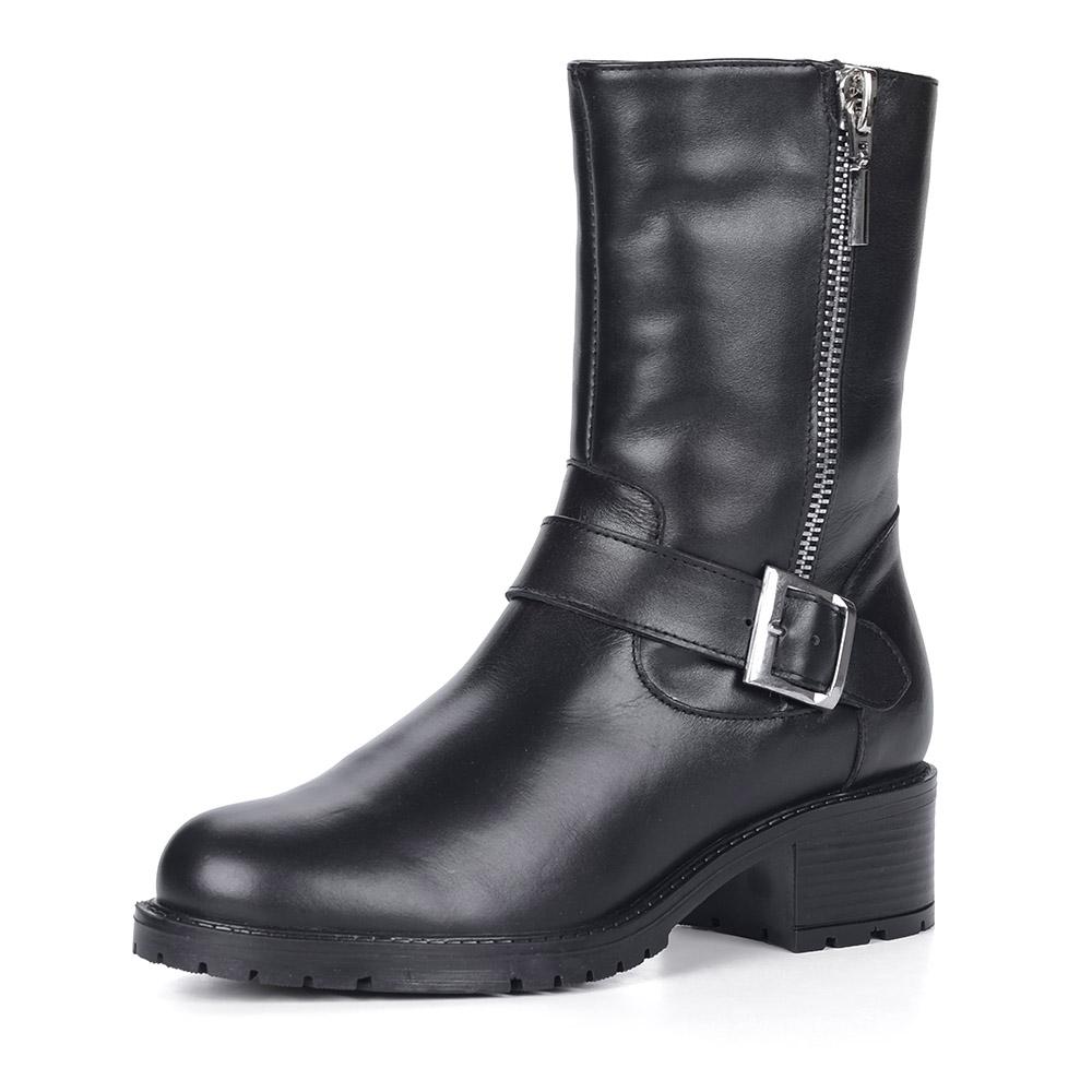 Черные кожаные полусапоги с ремешком