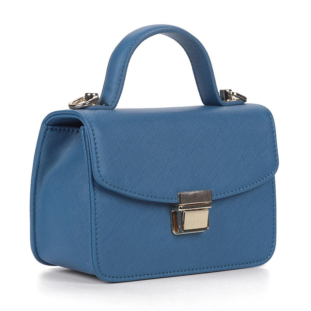 Синяя комбинированная сумка с цепочкой фото