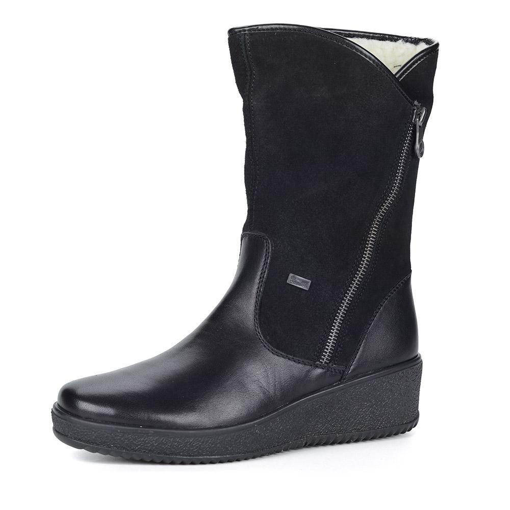 Черные кожаные полусапоги