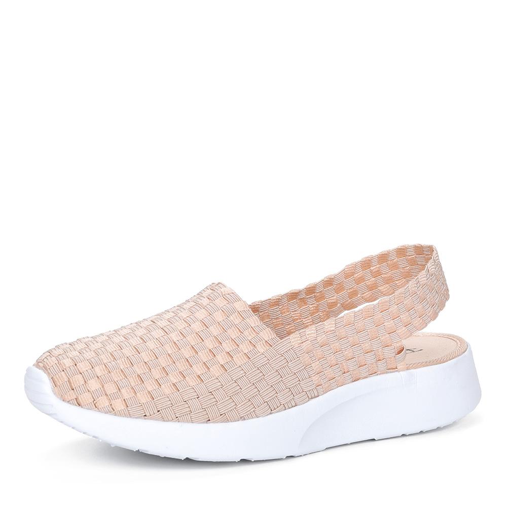 Бежевые текстильные открытые туфли0