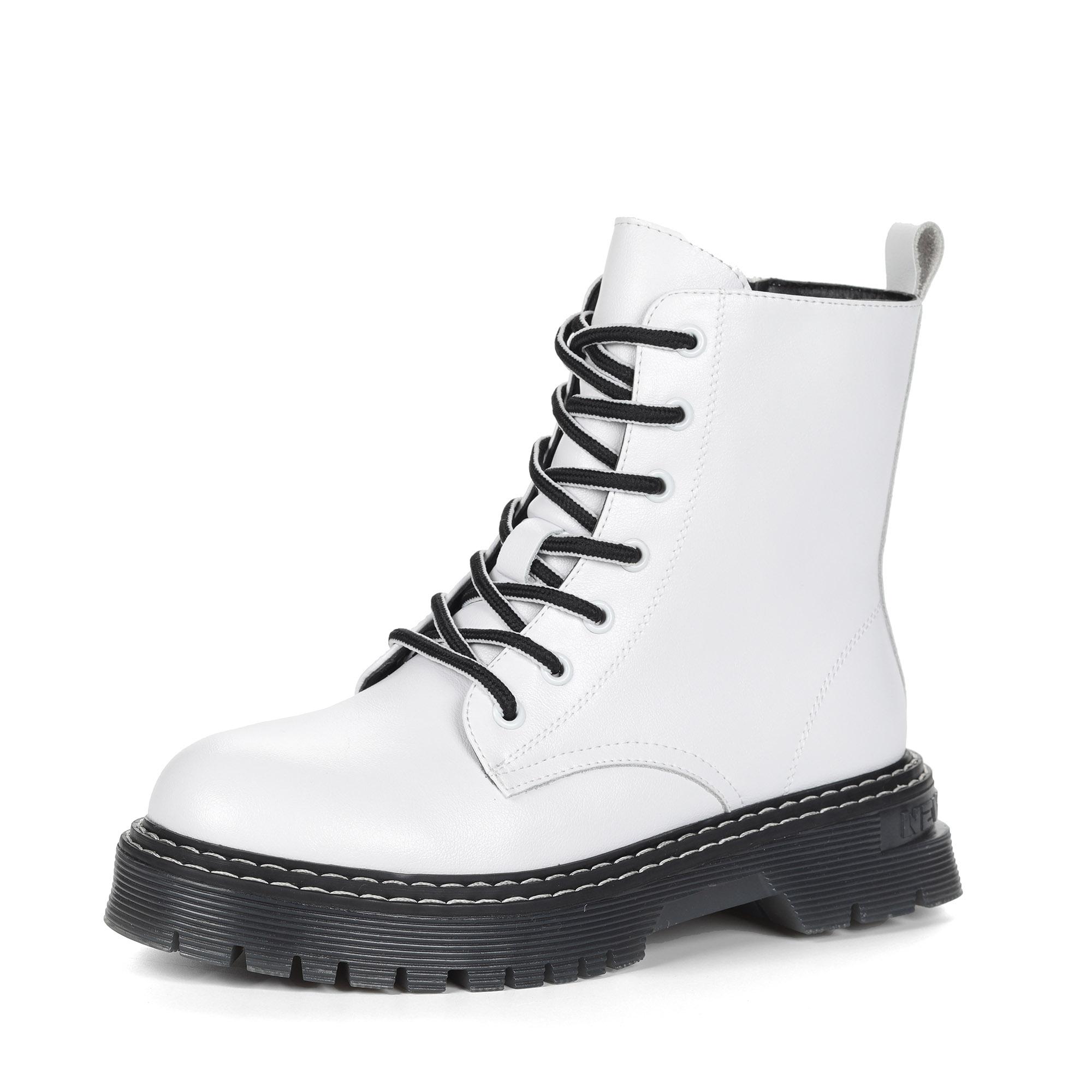Белые ботинки из кожи на подкладке из натуральной шерсти на утолщенной подошве