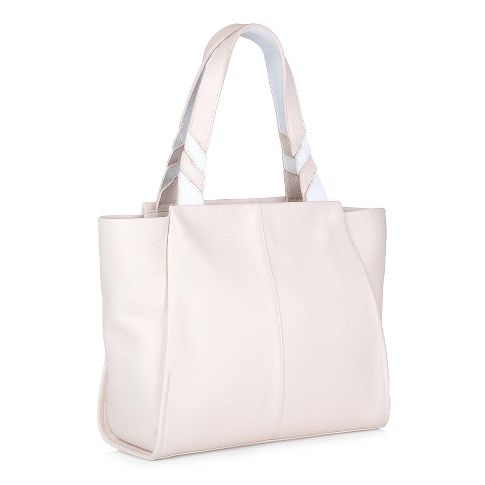 Купить со скидкой Бежевая классическая сумка из кожи