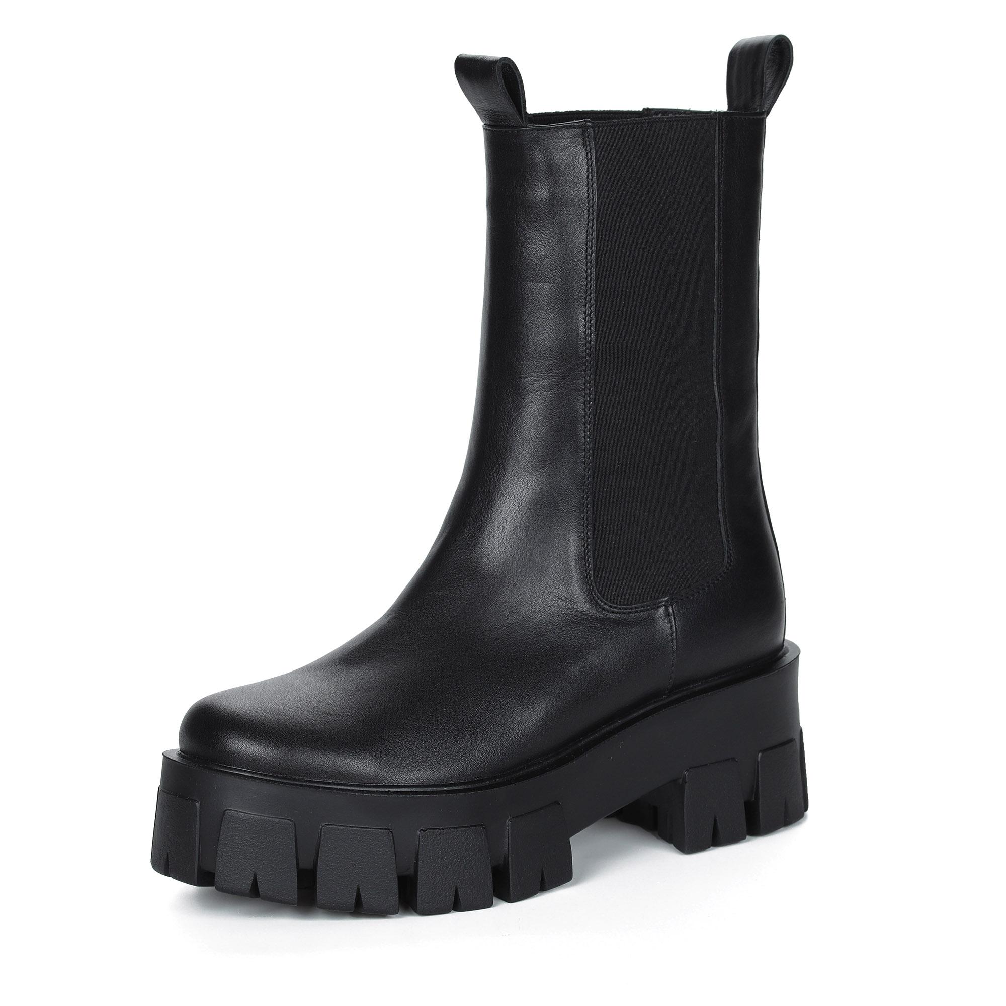 Черные ботинки челси из кожи на тракторной подошве
