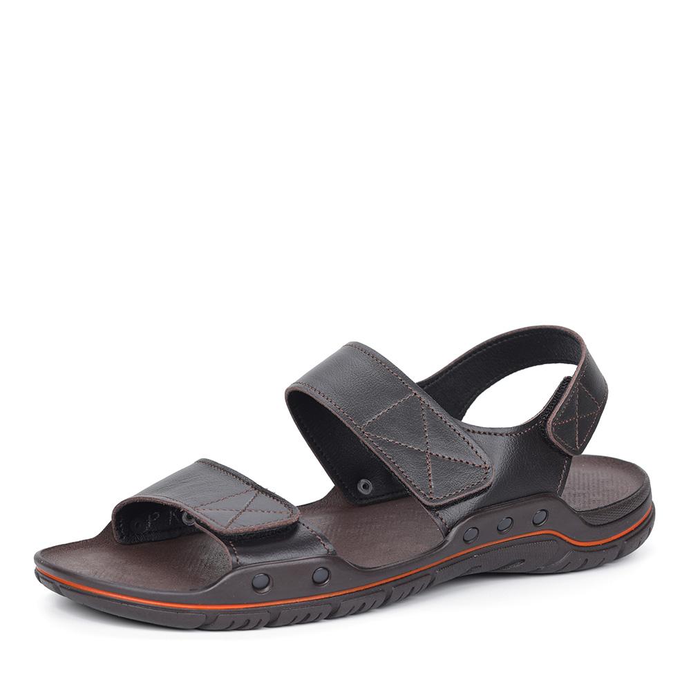 Коричневые сандалии на липучках фото