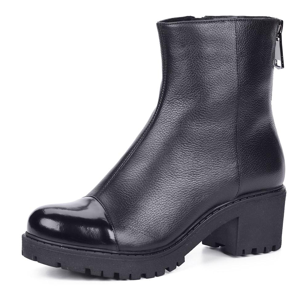 Черные кожаные ботинки на тракторной подошве