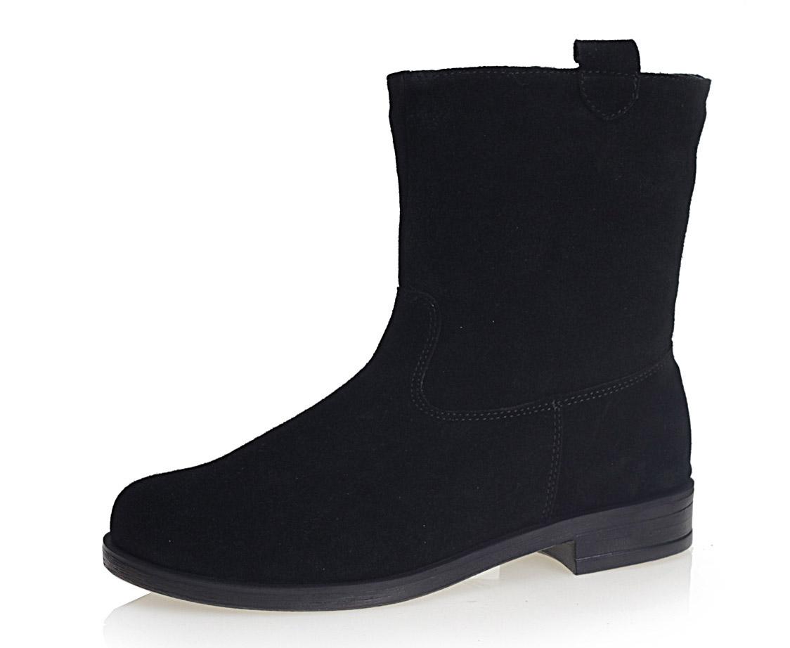 Купить со скидкой Черные полусапоги на низком каблуке