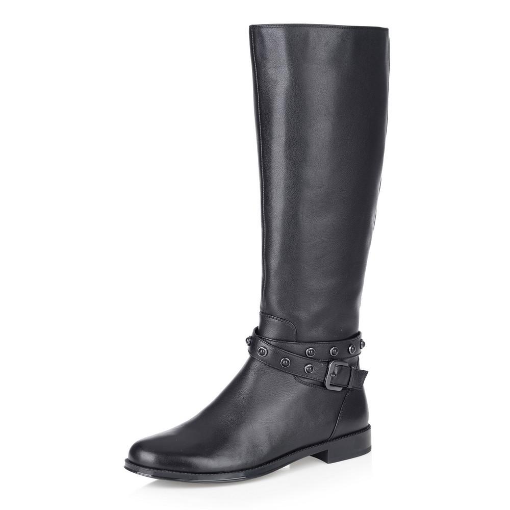 Купить со скидкой Черные кожаные сапоги с ремешком