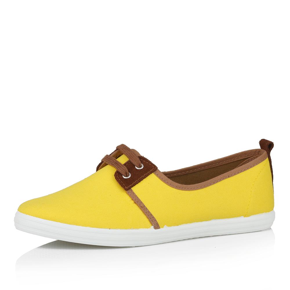 Желтые текстильные туфли без каблука