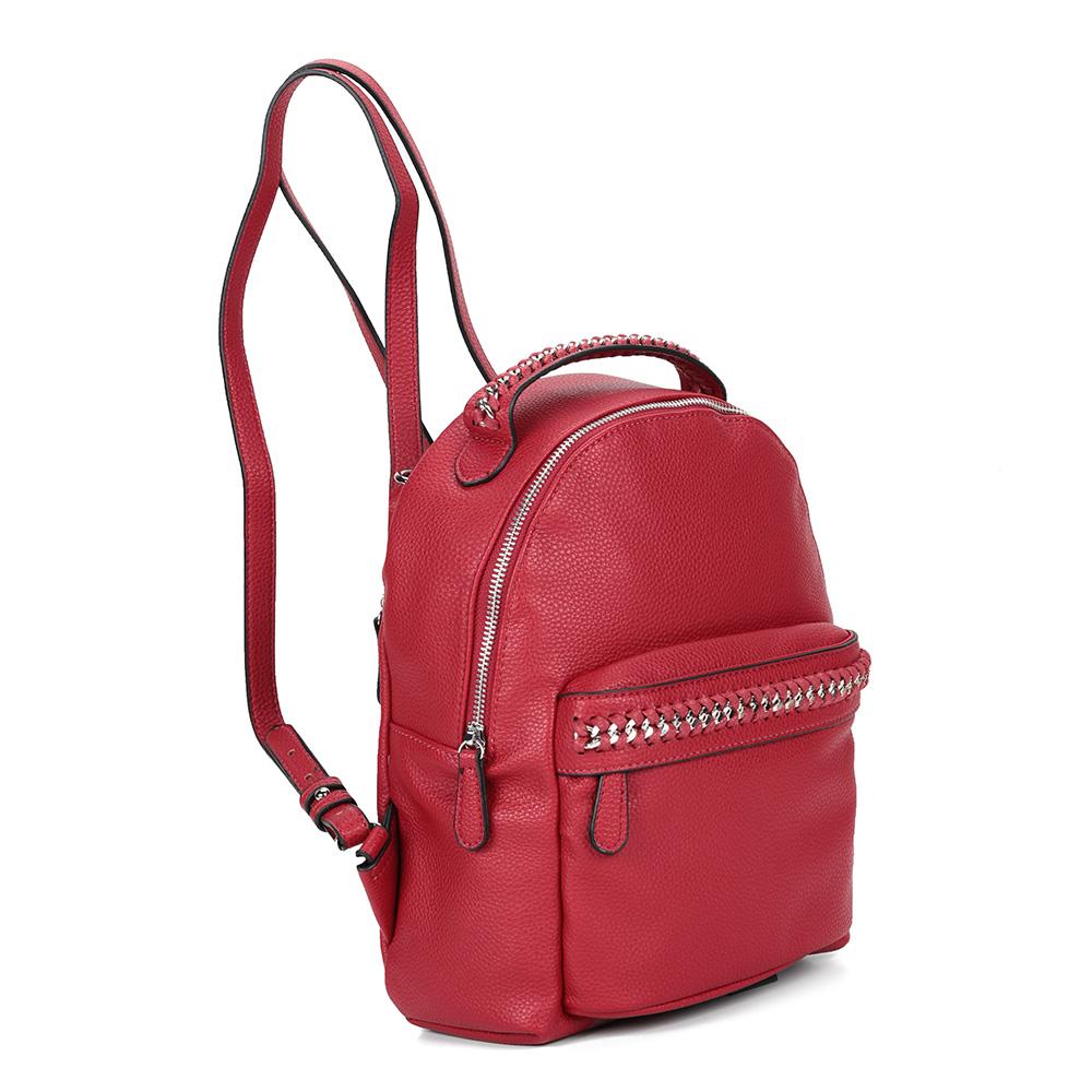 Красный рюкзак с железными эллементами фото