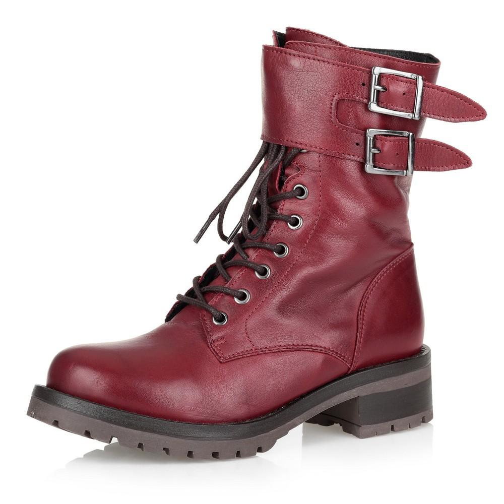 Купить со скидкой Высокие бордовые ботинки с пряжками