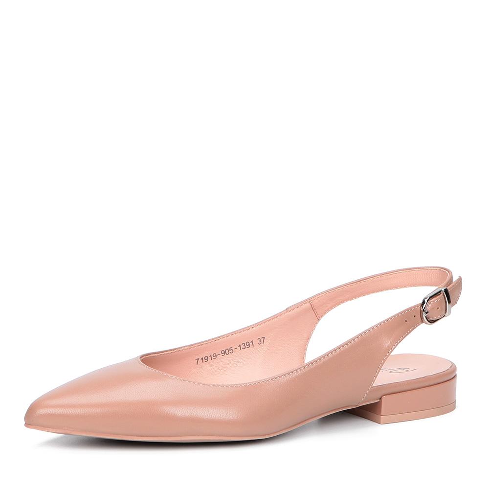 Бежевые открытые туфли на низком каблуке