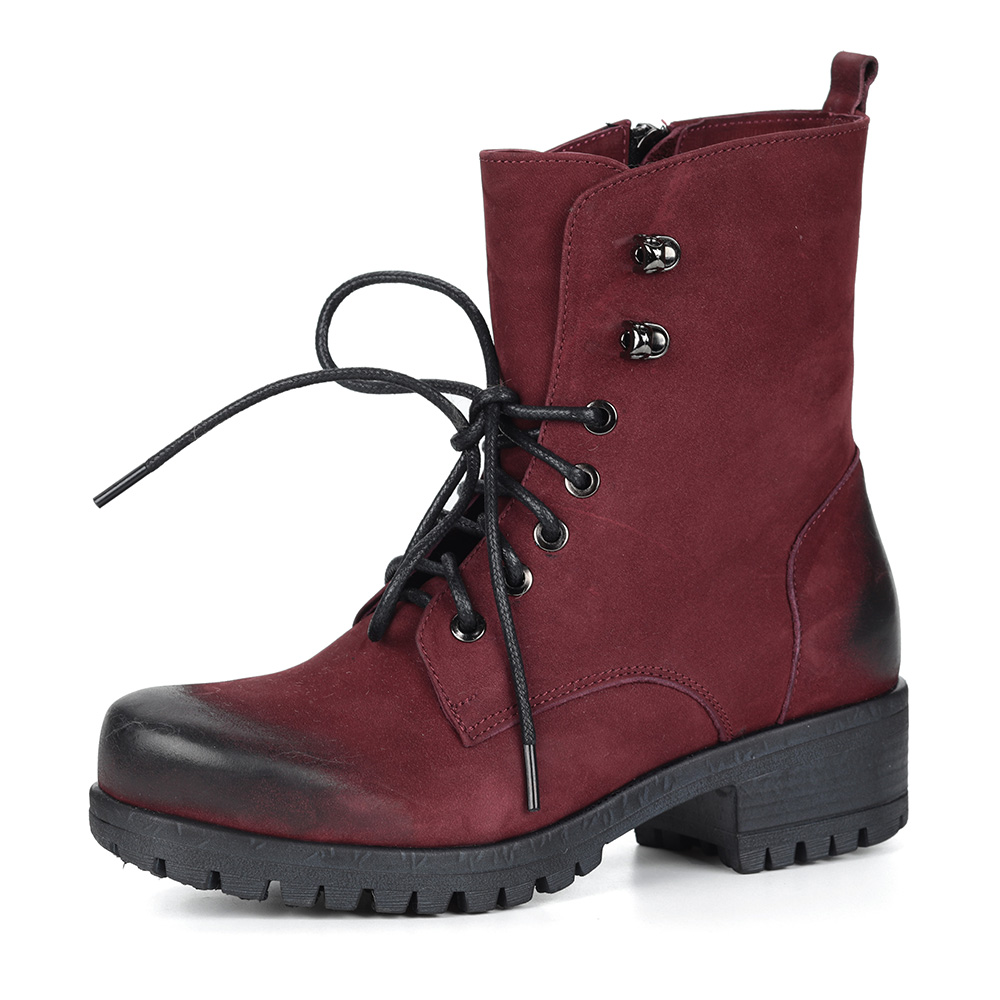Бордовые ботинки на шнуровке из нубука