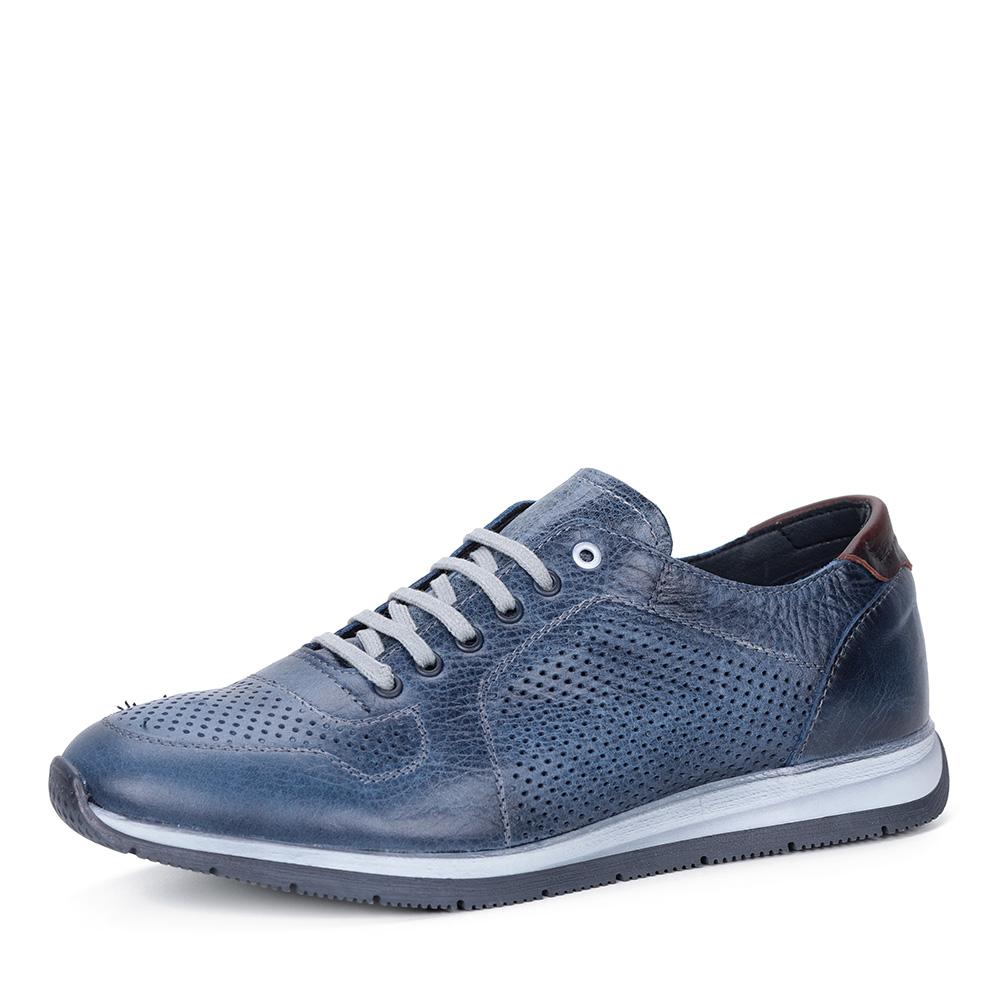 Синие кроссовки из перфорированной кожи фото