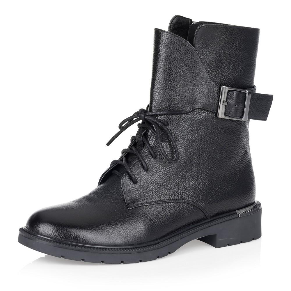 Купить со скидкой Черные высокие ботинки на шнуровке